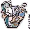 Chef preparing for dinner rush Vector Clipart illustration