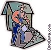Vector Clip Art image  of a Farmer watering his plants