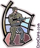 Vector Clipart image  of a Soldier with weapon ready for