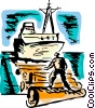 Ships Carrying Cargo and Freight Vector Clip Art graphic