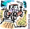 Farmer in his tractor planting crops Vector Clip Art picture