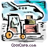 Worker driving forklift with luggage to airplane Vector Clip Art picture