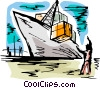 Ships Carrying Cargo and Freight Vector Clipart graphic
