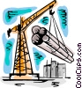 Crane moving steel pipe Vector Clip Art image