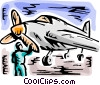 Air force pilot inspecting plane Vector Clipart picture
