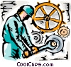 Construction worker tightening bolt Vector Clipart picture