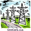 Hydro Towers in the country side Vector Clip Art picture