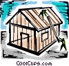 Trades People installing roof trusses Vector Clipart illustration