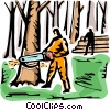 Forestry worker cutting down trees Vector Clip Art picture