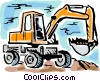 Vector Clip Art image  of a Steam Shovels and Diggers