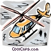Helicopter taking off Vector Clipart illustration