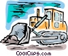 Bulldozer plowing road Vector Clipart picture