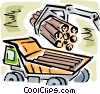 Logging truck being loaded Vector Clipart illustration