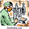 Researcher looking through microscope Vector Clip Art graphic