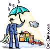 man with insurance for his home and car Vector Clip Art graphic