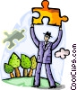 man outside with a Pieces of a Puzzle Vector Clipart image