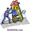 Businessman moving his home office Vector Clipart picture