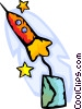 Rocket ship with letter attached Vector Clipart image