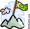 Money flag on top of mountain Vector Clipart illustration