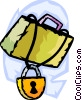 Locked briefcase Vector Clipart illustration