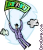 businessman with money parachute Vector Clipart picture