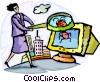 Businesswoman with computer virus Vector Clipart image