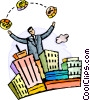 man juggling coins behind cityscape Vector Clipart illustration