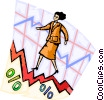 Businesswoman charting success Vector Clipart graphic