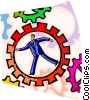 Businessman running in gears Vector Clipart graphic