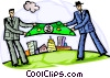 Businessmen sheltering community with money Vector Clip Art picture