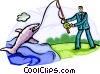 Businessman Fishing for Prospects Vector Clipart image