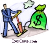 Businessman pumping up his investment Vector Clip Art picture