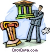 man putting bank symbol on pedestal Vector Clipart image