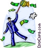 Businessman catching money with net Vector Clipart image