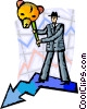 Investment and Stock Market concept man with bear mask Vector Clip Art graphic