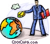 Businessman putting change into globe Vector Clip Art image