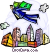 man flying with dollar bill wings Vector Clipart picture