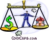 Businessman Balancing money and home Vector Clip Art graphic