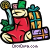 Christmas Stocking with presents and candle Vector Clip Art image