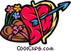 Cupid's bow and arrow with chocolates and flowers Vector Clipart illustration