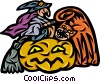 Witch on her broom with scary cat and pumpkin Vector Clipart illustration