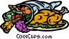 Cornucopia filled with fruits and vegetables Vector Clipart picture