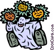 Ghost with jack-o-lanterns and grave stones Vector Clip Art picture
