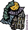 Haunted House with bats and moon Vector Clipart picture