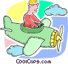 Man flying Propeller Plane Vector Clipart image