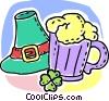 Beer mug with Irish hat and clover Vector Clipart illustration
