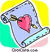 Heart and arrow on paper Vector Clip Art picture