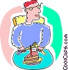 Vector Clip Art graphic  of a Boy about to eat his birthday