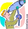 Man looking through his telescope Vector Clip Art graphic