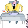 Businessman eating pasta dinner Vector Clipart image